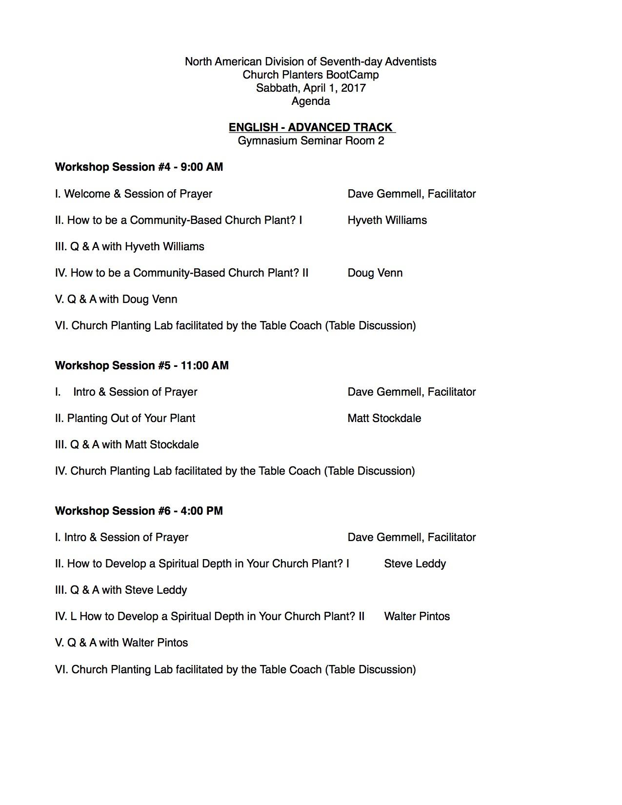 2017 Church Planters BootCamp Schedule & Presenters