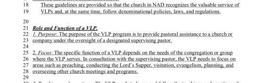 Guidelines for Volunteer Pastors